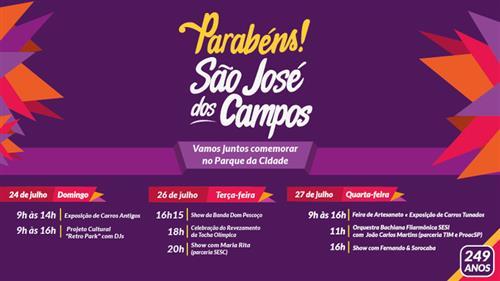 Banner com a programação de 249 anos de São José dos Campos.