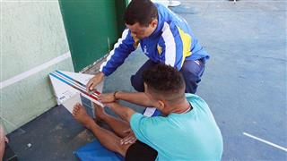 Avaliação física durante a seletiva realizada no Poliesportivo Altos de Santana