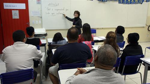 Professora e alunos do EJA em sala de aula