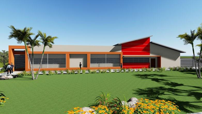 Maquete mostra a fachada da nova Emef do Pinheirinho dos Palmares